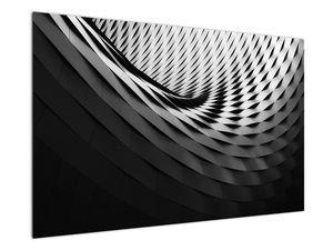 Abstraktní obraz - černobílá spirála (V020667V12080)