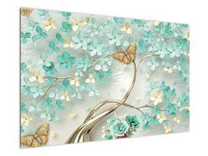 Obraz květiny s motýly (V020716V12080)