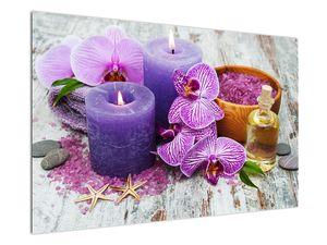 Obraz orchideí a svíček (V020894V12080)