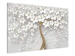 Obraz bieleho stromu s kvetinami (V020977V12080)