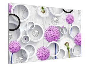 Tablou cu abstracție 3D cu cercuri și flori (V020981V12080)