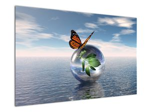 Obraz motýla na skleněné kouli (V021198V12080)