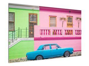 Obraz auta - barevné domy (V021582V12080)