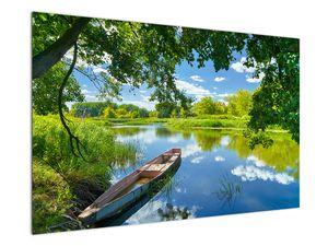 Obraz letní řeky s loďkou (V021977V12080)