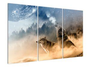 Obraz - vlci vyjící na měsíc (V020509V120803PCS)