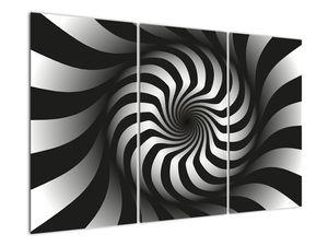 Abstraktní obraz černobílé spirály (V020831V120803PCS)