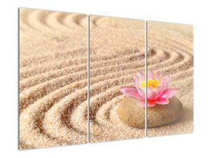 Slika kamna z rožo na pesku (V020864V120803PCS)