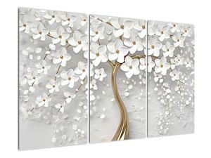 Obraz bílého stromu s květinami (V020977V120803PCS)