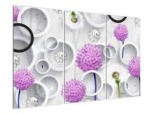 Tablou cu abstracție 3D cu cercuri și flori (V020981V120803PCS)