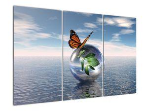 Obraz motýla na skleněné kouli (V021198V120803PCS)