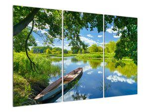 Slika ljetne rijeke s brodicom (V021977V120803PCS)