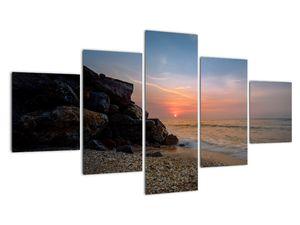 Tablou apusului de soare pe plajă (V020214V12570)