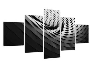 Abstraktní obraz - černobílá spirála (V020667V12570)