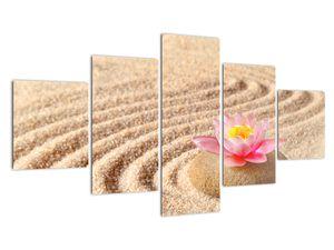 Obraz kameňa s kvetinou na piesku (V020864V12570)
