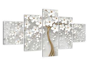 Obraz bílého stromu s květinami (V020977V12570)
