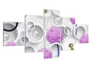 Tablou cu abstracție 3D cu cercuri și flori (V020981V12570)