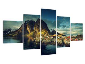 Obraz rybářské vesnice v Norsku (V021280V12570)