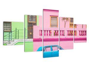 Obraz auta - barevné domy (V021582V12570)