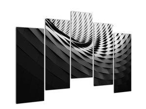 Abstraktní obraz - černobílá spirála (V020667V12590)