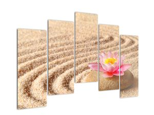 Obraz kameňa s kvetinou na piesku (V020864V12590)