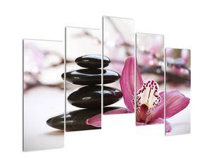 Obraz masážních kamenů a orchidee (V020910V12590)