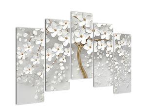 Obraz bílého stromu s květinami (V020977V12590)