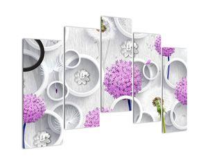 Obraz 3D abstrakcie s kruhmi a kvetinami (V020981V12590)