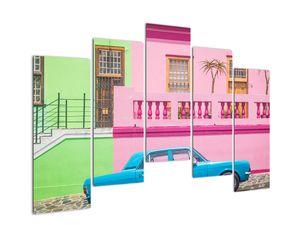 Obraz auta - barevné domy (V021582V12590)