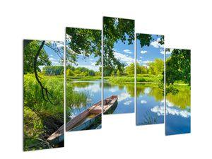 Slika ljetne rijeke s brodicom (V021977V12590)