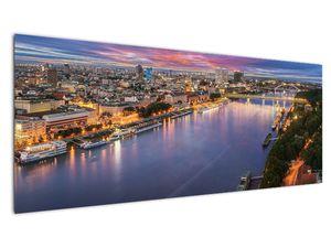 Obraz nočného mesta Bratislavy s riekou (V020706V14558)