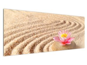 Obraz kameňa s kvetinou na piesku (V020864V14558)