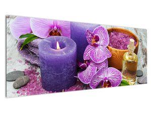 Obraz orchideí a svíček (V020894V14558)