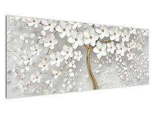 Obraz bílého stromu s květinami (V020977V14558)