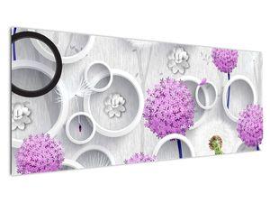 Tablou cu abstracție 3D cu cercuri și flori (V020981V14558)