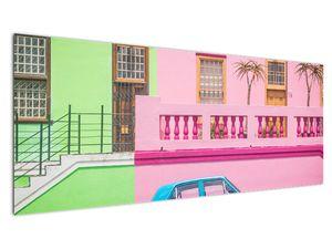 Obraz auta - barevné domy (V021582V14558)