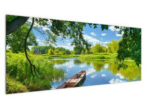 Slika ljetne rijeke s brodicom (V021977V14558)