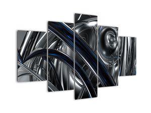 Obraz šedé abstrakce s modrou (V020093V150105)