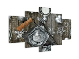 Tablou - decorațiuni argintii de Crăciun (V020310V150105)