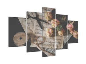 Tablou  cu note  muzicale și trandafiri (V020393V150105)