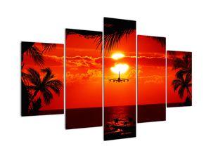 Bild - Sonnenuntergang mit Flugzeug (V020623V150105)