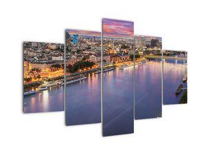 Obraz nočního města Bratislavy s řekou (V020706V150105)