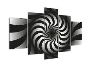 Abstraktný obraz čiernobiele špirály (V020831V150105)