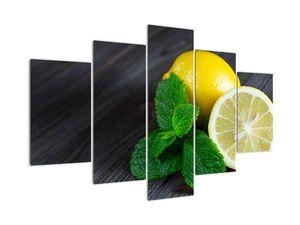 Obraz citrónů a máty na stole (V020884V150105)