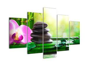Obraz masážních kamenů a orchidee na vodě (V020902V150105)