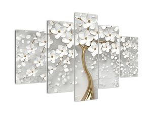 Obraz bílého stromu s květinami (V020977V150105)