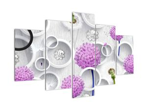 Tablou cu abstracție 3D cu cercuri și flori (V020981V150105)