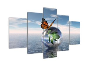 Tablou cu fluture pe bilă din sticlă (V021198V150105)