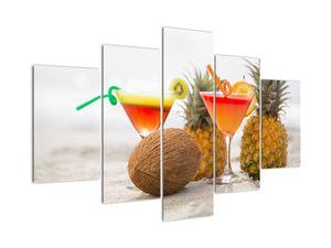 Obraz ananasů a sklenic na pláži (V021220V150105)