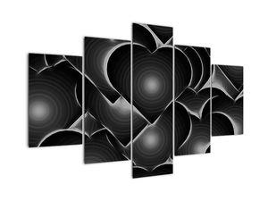 Obraz černo-bílých srdcí (V021364V150105)