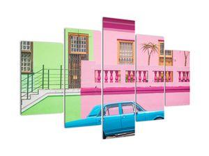 Obraz auta - barevné domy (V021582V150105)